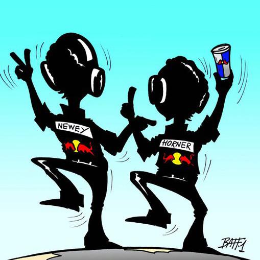 Эдриан Ньюи и Кристиан Хорнер празднуют победу Red Bull в чемпионате на Гран-при Абу-Даби 2010