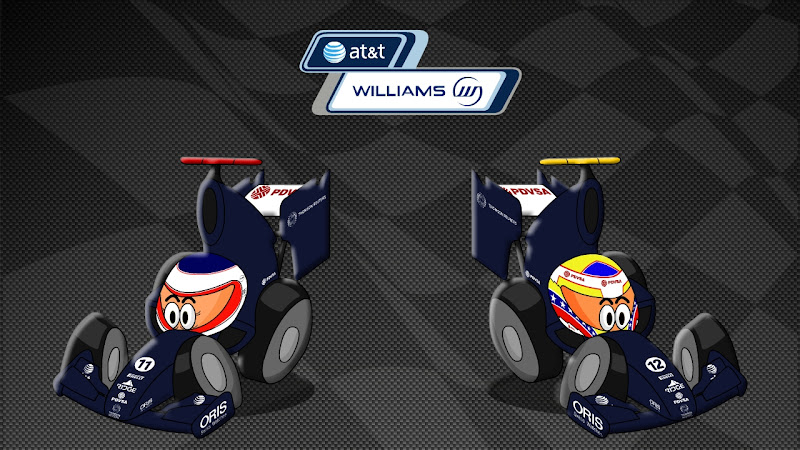 Рубенс Баррикелло и Пастор Мальдонадо Williams 2011 Los MiniDrivers