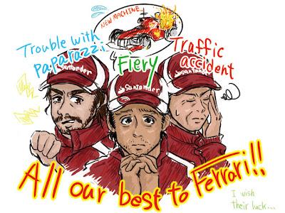 комикс гонщики Ferrari в межсезонье