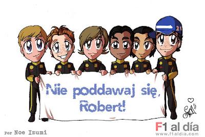 гонщики Lotus Renault поддерживают Роберта Кубицу