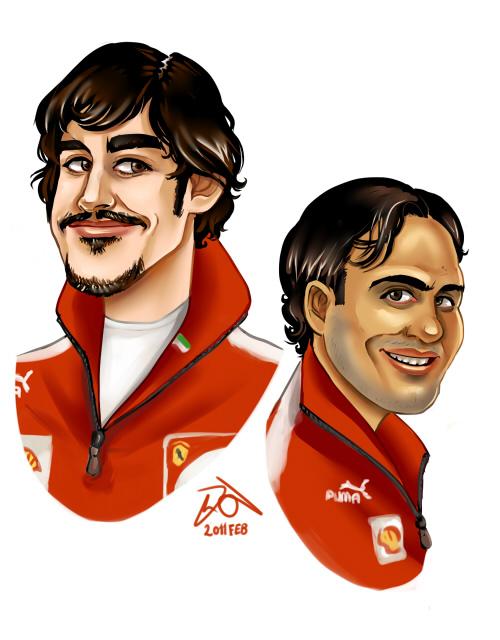 карикатура Фернандо Алонсо и Фелипе Масса от Yelaeve