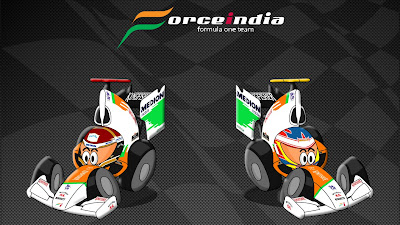 Адриан Сутиль и Пол ди Реста Force India 2011 Los MiniDrivers