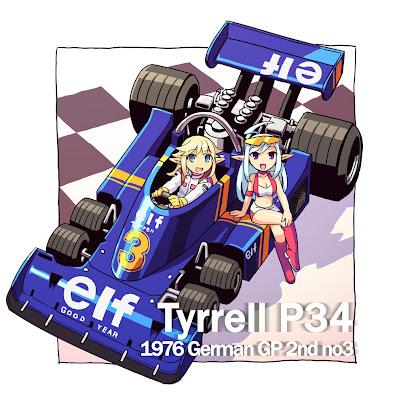 шестиколесный анимешный Tyrrell P34 на Гран-при Германии 1976