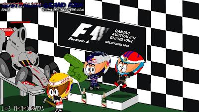 Льюис Хэмилтон Себастьян Феттель Виталий Петров на подиуме Гран-при Австралии 2011