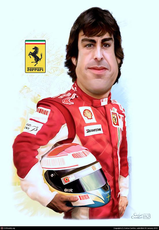 карикатура Фернандо Алонсо в форме Ferrari от Carlos Carriles