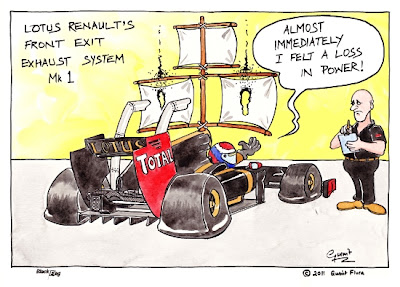 Виталий Петров испытывает передний выхлоп Lotus Renault комикс Black Flag