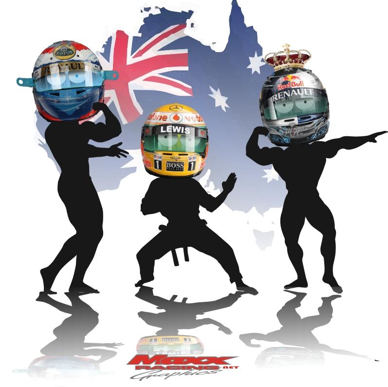 обладатели подиуму Виталий Петров Льюис Хэмилтон и Себастьян Феттель на Гран-при Австралии 2011 от Maxx Racing
