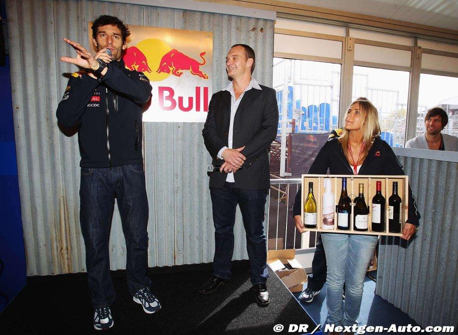 Марк Уэббер презентует вина на Гран-при Австралии 2011