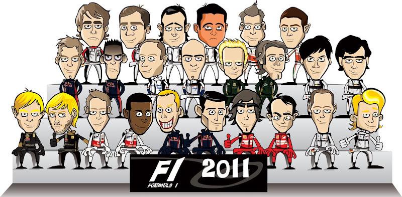 коллективная картинка пилотов Формулы-1 сезона 2011
