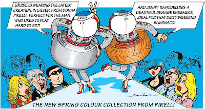 Дженсон Баттон и Льюис Хэмилтон демонстрируют новую разноцветную резину Pirelli комикс Jim Bamber