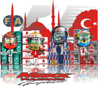 Михаэль Шумахер Льюис Хэмилтон Себастьян Феттель Фернандо Алонсо на Гран-при Турции 2011 Maxx Racing