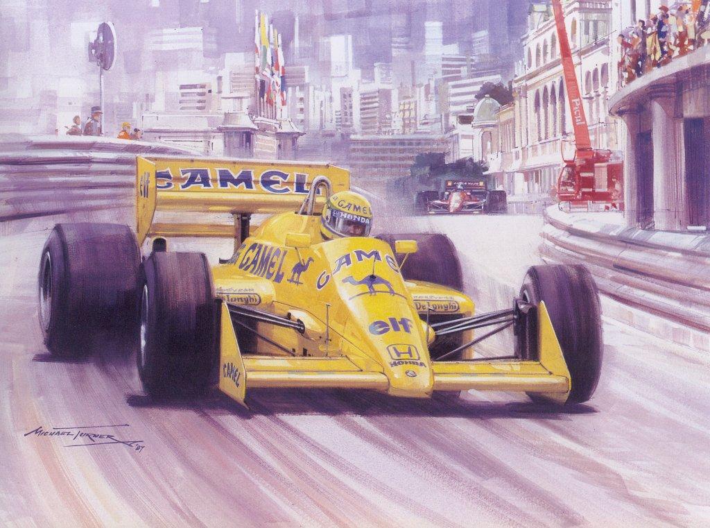 Айртон Сенна за рулем Lotus 99T на Гран-при Монако 1987 арт Michael Turner