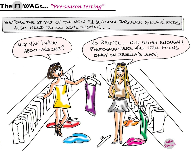 Ракель дель Росарио и Вивиан Сиболд готовятся к предстоящему сезону Формулы-1 комикс TheF1Wags