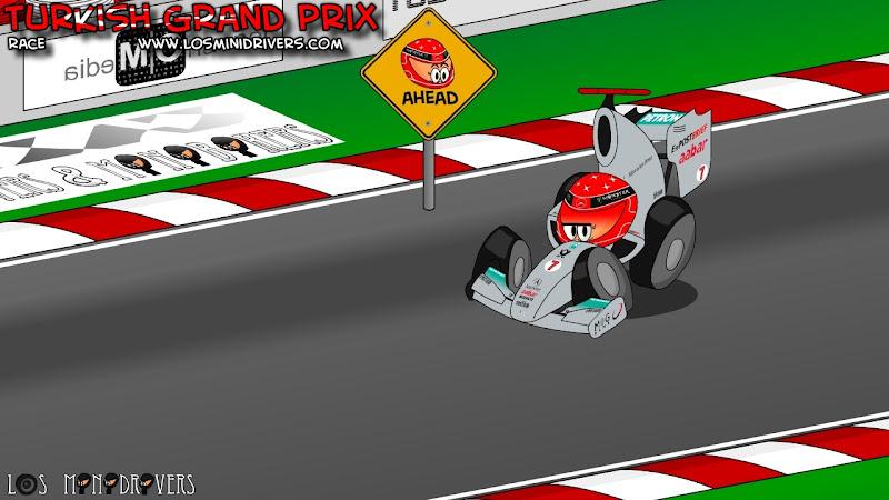 осторожно впереди Михаэль Шумахер Mercedes GP на Гран-при Турции 2011 Los MiniDrivers