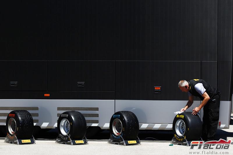 резину Pirelli моют перед выставкой на Гран-при Турции 2011