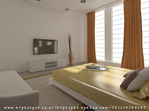 desain interior kamar tidur utama pada ruangan 5 5 x 4 5 m