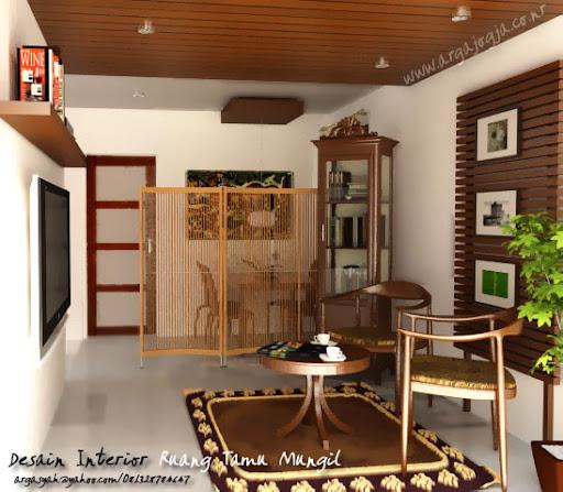 Desain Interior ruang Tamu Mungil Natural Classic