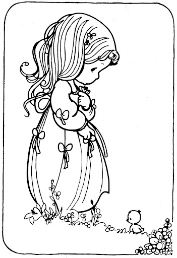 Ducky and girl– Precious Moments coloring pages