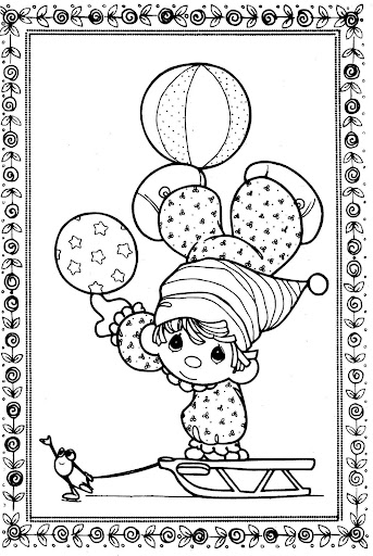Clown  on ice– precious moments coloring pages