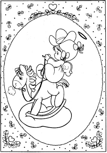 angel playing with the wooden horse – precious moments coloring pages