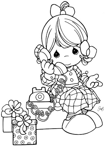 girl talking on phone – precious moments coloring pages