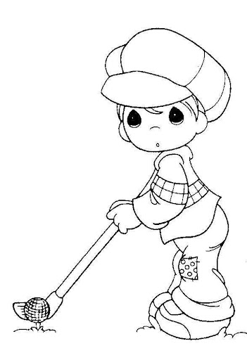 Golf player– precious moments coloring pages
