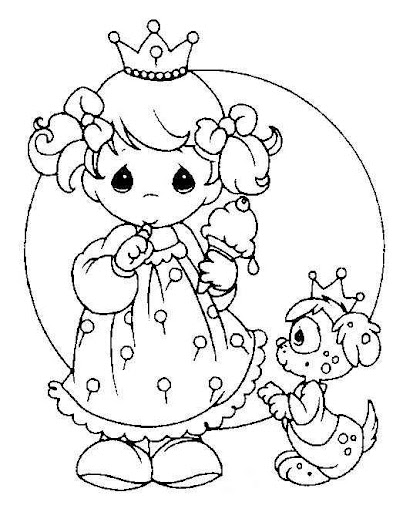Princess precious moments coloring page