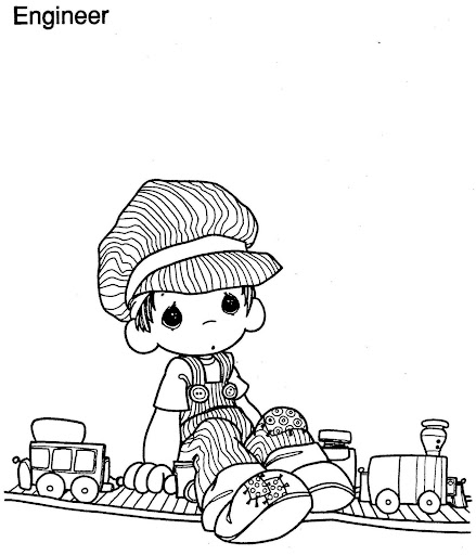 Engineer precious moments, coloring page
