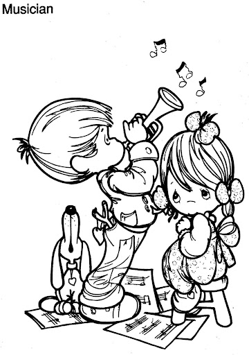 Musician coloring page, precious moments