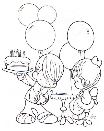 Birthday Party coloring pages precious moments