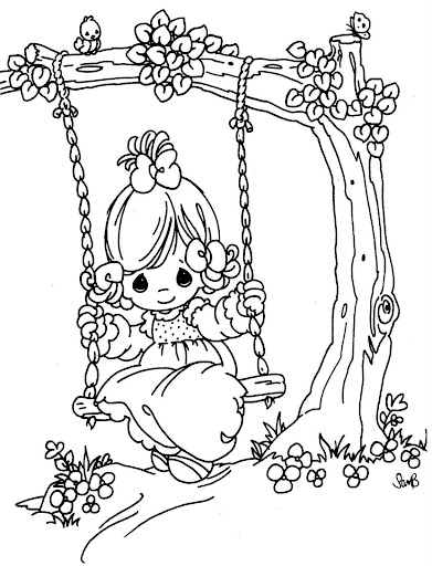 swinging girl coloring pages