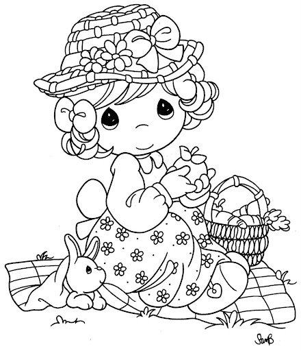 Girl celebrating Easter coloring page