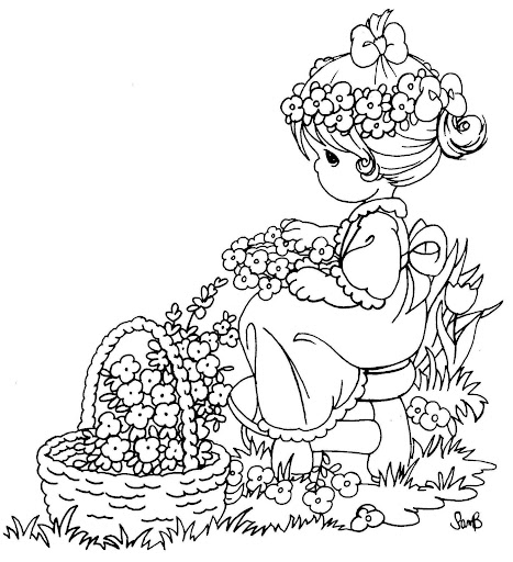 Girl picking flowers free coloring printable pages
