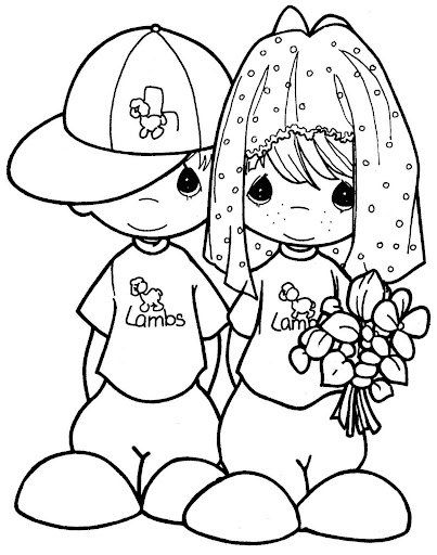 Chindren playing to marry precious moments free coloring pages