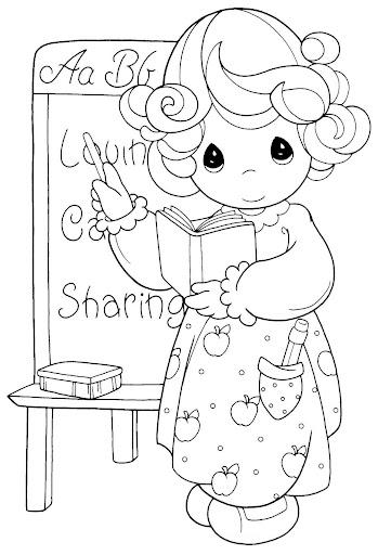 de dibujos de los precious moments para colorear sobre los maestros