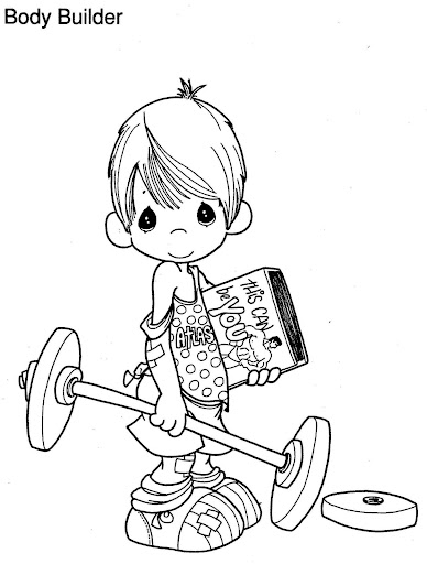 Body builder precious moments coloring pages