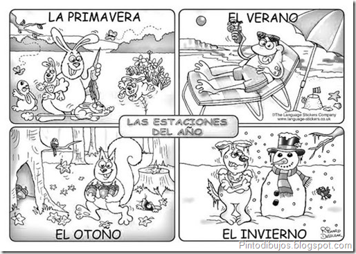 Seasons in spanish coloring pages