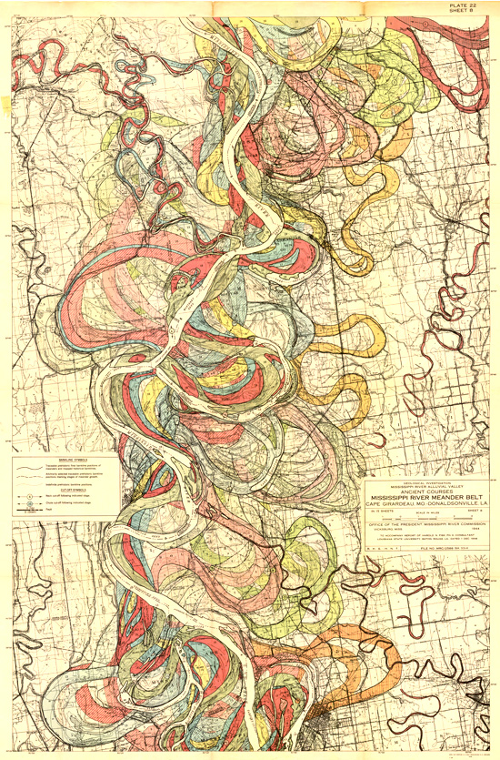 Fisk, 1944. Map of ancient courses of the Mississippi River, Cape Girardeau, MO - Donaldsonville, LA (Plate 22-8)