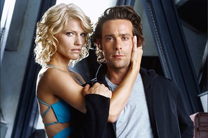 Tricia Helfer as Caprica Six and James Callis as Gaius Baltar