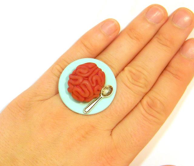 Изделия- улитки в технике мика шифт, кольцо с мозгом и другое
