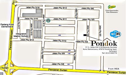 pondok cafe dataran sunway kota damansara location map