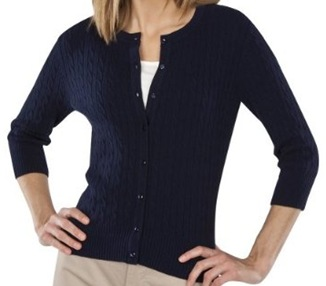 navy cardigan