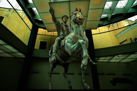 Estatua ecuestre de Marco Aurelio. Museos Capitolinos (Musei Capitolini)Roma, Italia.
