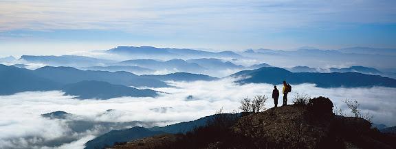 Vista de les muntanyes del Priorat des de la Roca Corbatera, Serra Major del Montsant, Parc Natural, Priorat, Tarragona2002.12