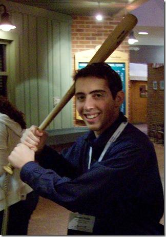 holding babe ruth bat