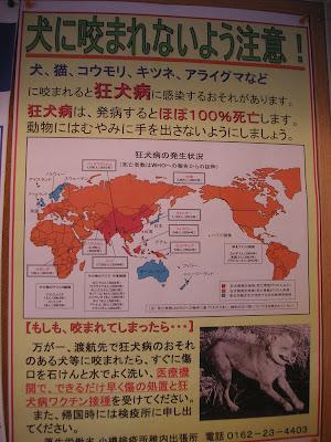 狂犬病注意の貼り紙