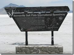 1967 Plaque at end of Road to Bonneville Salt Flats International Speedway UT