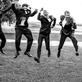 Jump for Joy by Innocensia Salazar - Wedding Groom ( groomsmen, black and white, wed, fun, party, tux, formal, tuxedo, wedding, happy, best man, men, bride, smile, group, groom, man,  )