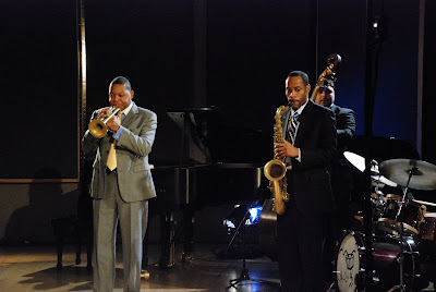 Artistic Director of Jazz at Lincoln Center Wynton Marsalis, Carlos Henriquez, and Walter Blanding  Photo Credit_Meghan Thornton for Jazz at Lincoln Center