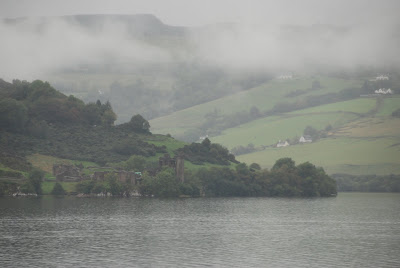 Urquhart Castle in the mist, Loch Ness